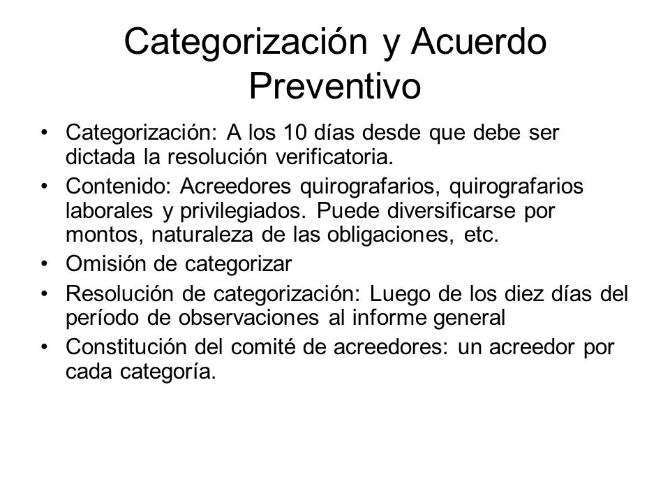 Categorización y Acuerdo Preventivo