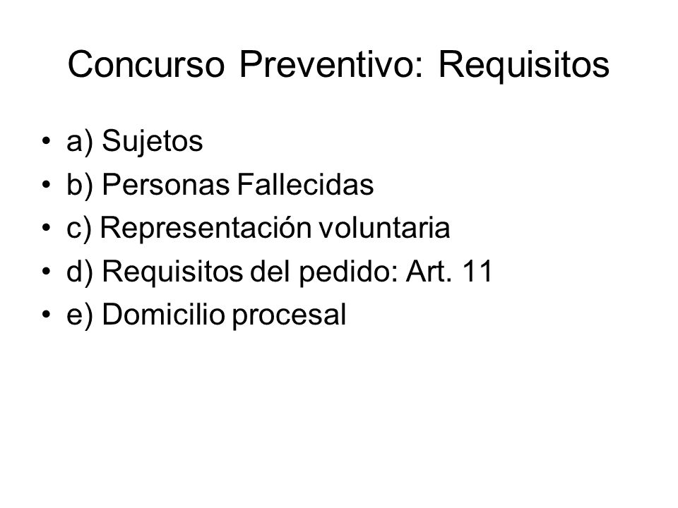 Concurso Preventivo: Requisitos