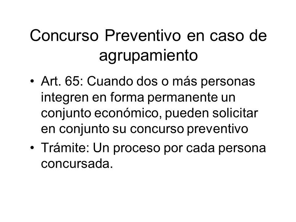 Concurso Preventivo en caso de agrupamiento