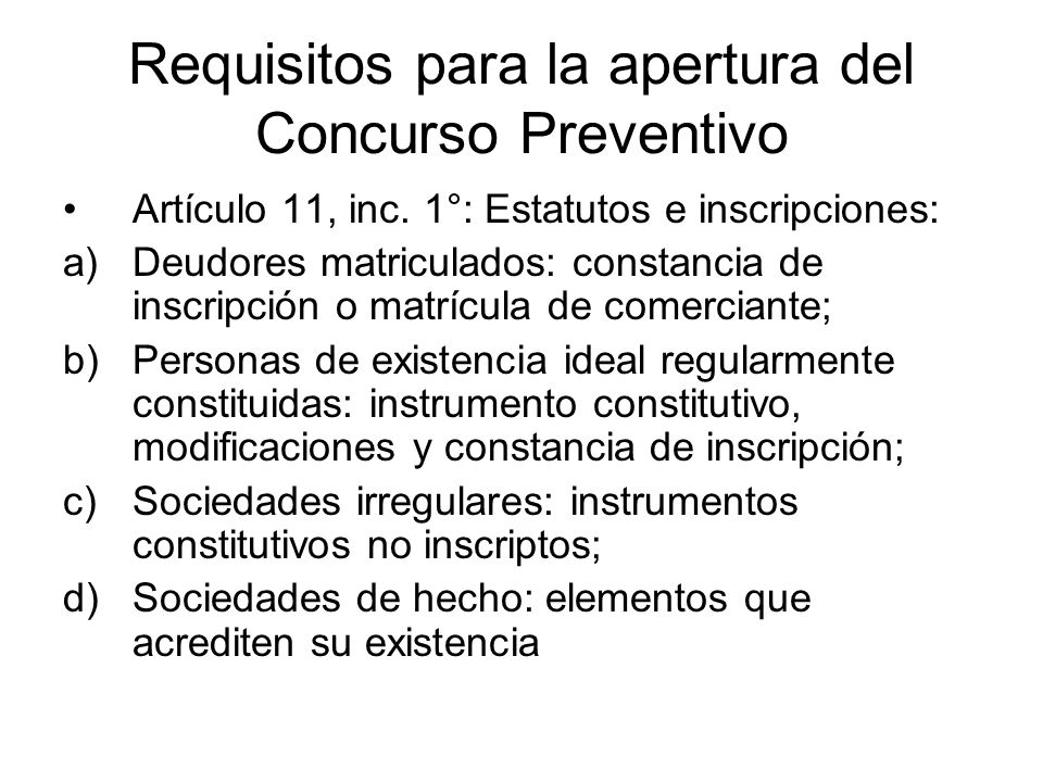 Requisitos para la apertura del Concurso Preventivo