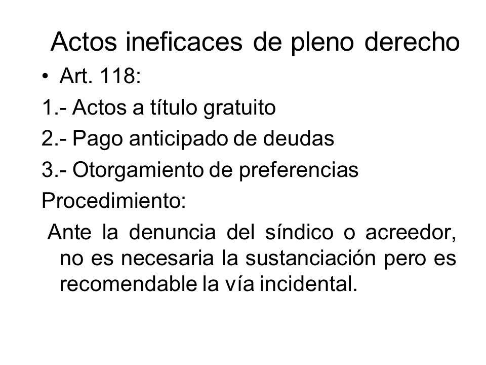 Actos ineficaces de pleno derecho