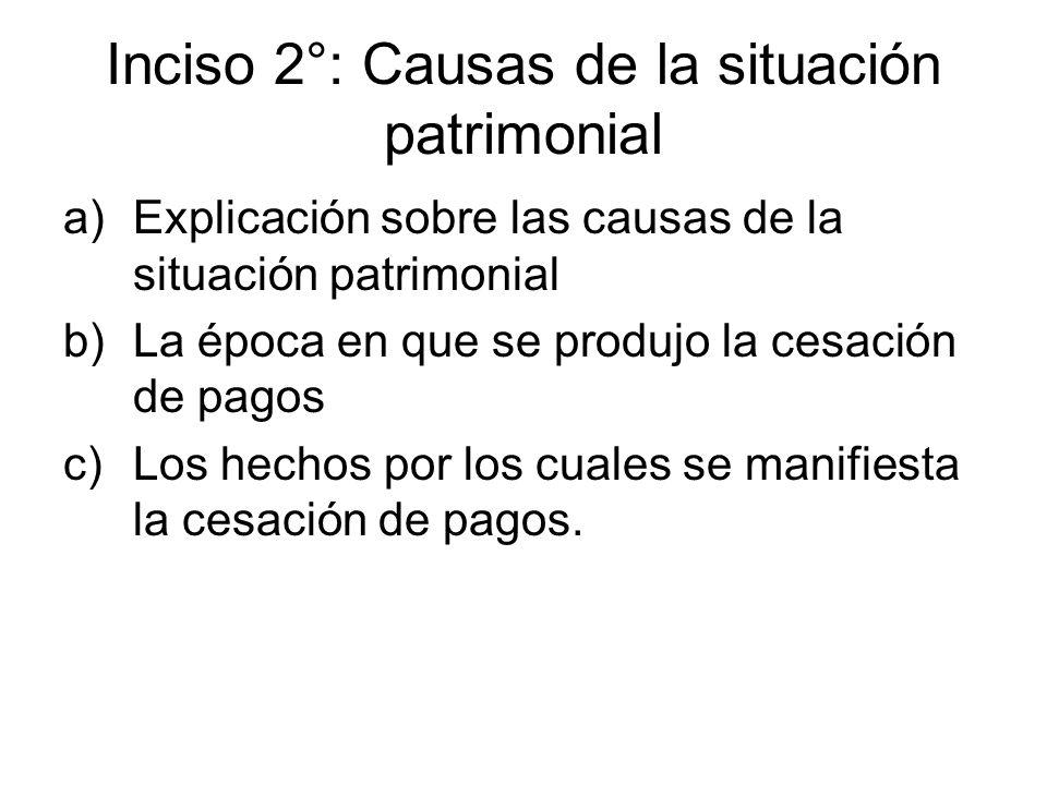 Inciso 2°: Causas de la situación patrimonial