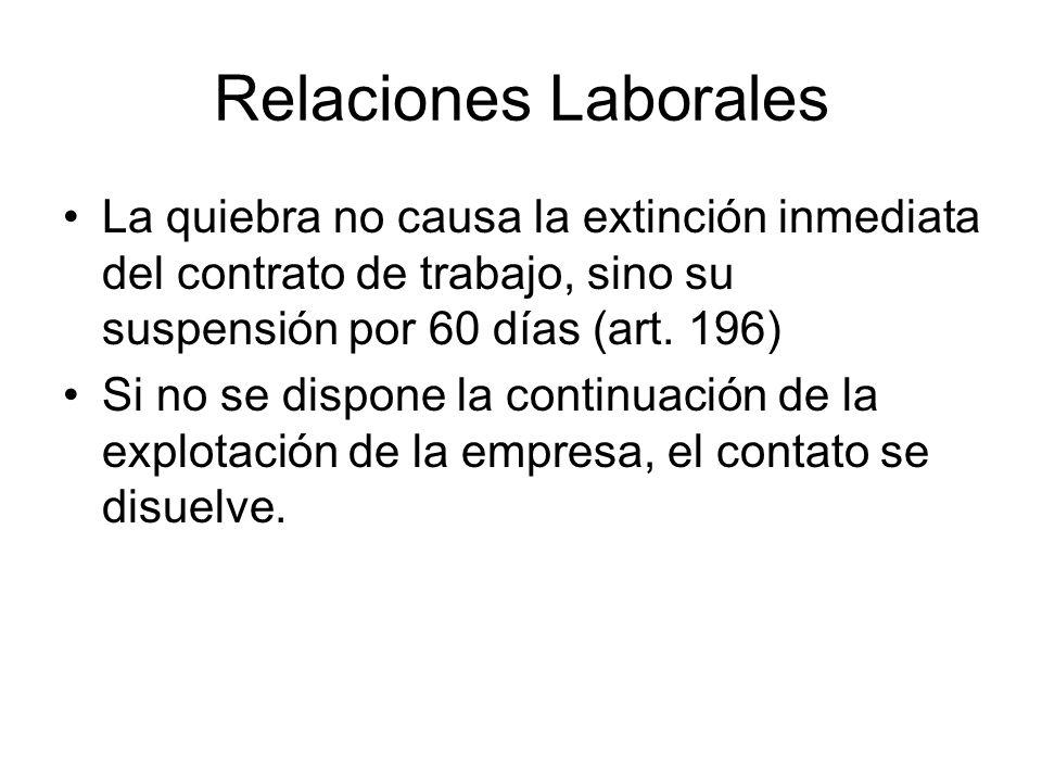 Relaciones LaboralesLa quiebra no causa la extinción inmediata del contrato de trabajo, sino su suspensión por 60 días (art. 196)