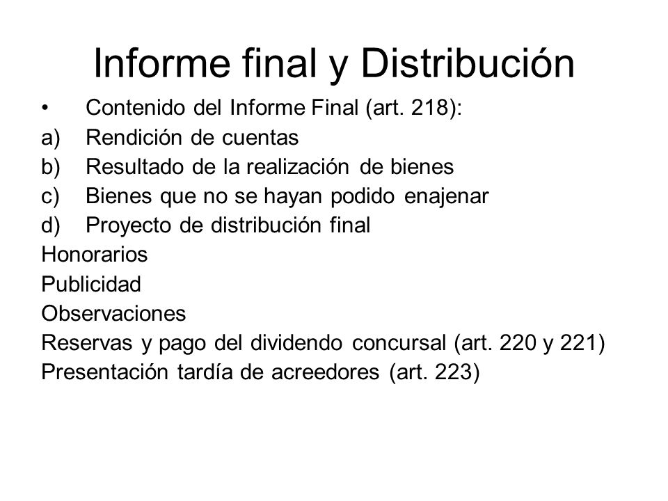 Informe final y Distribución