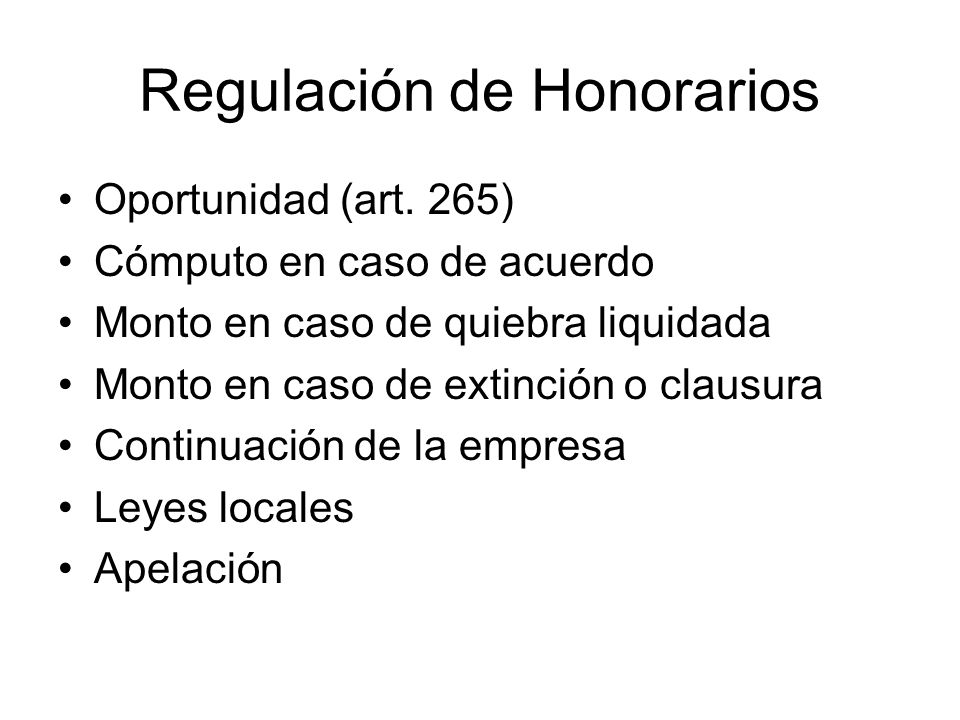 Regulación de Honorarios