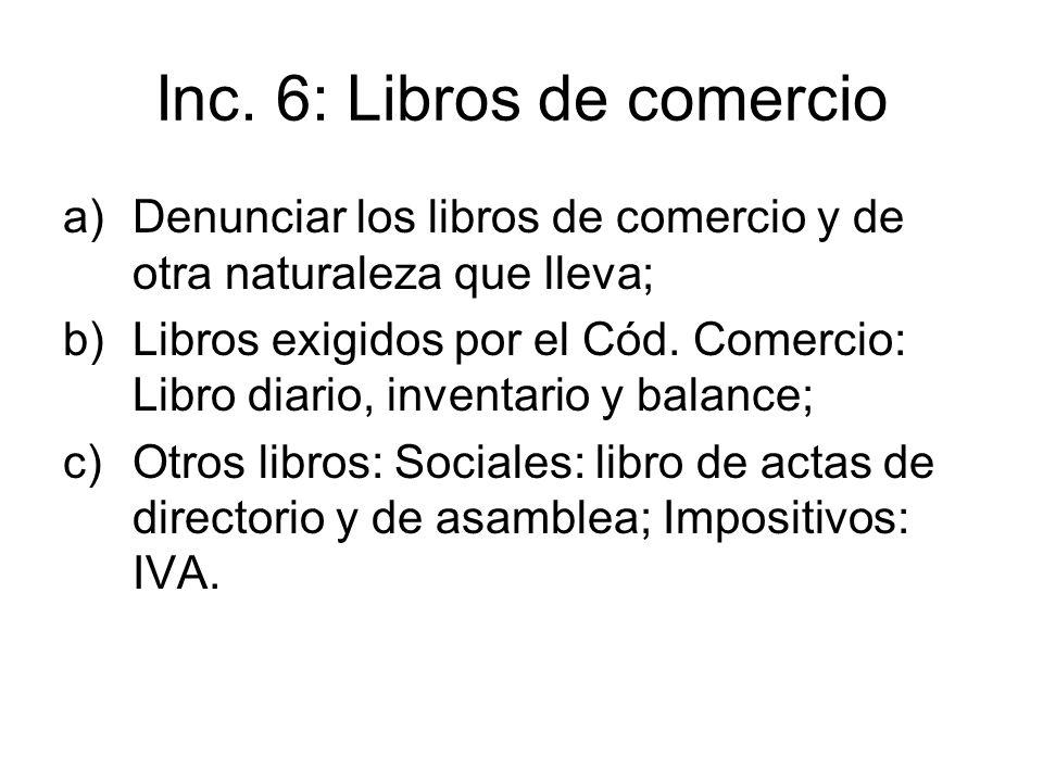Inc. 6: Libros de comercio