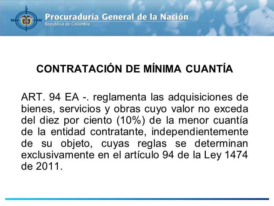 CONTRATACIÓN DE MÍNIMA CUANTÍA ART. 94 EA -