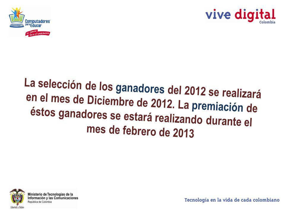 La selección de los ganadores del 2012 se realizará en el mes de Diciembre de 2012.