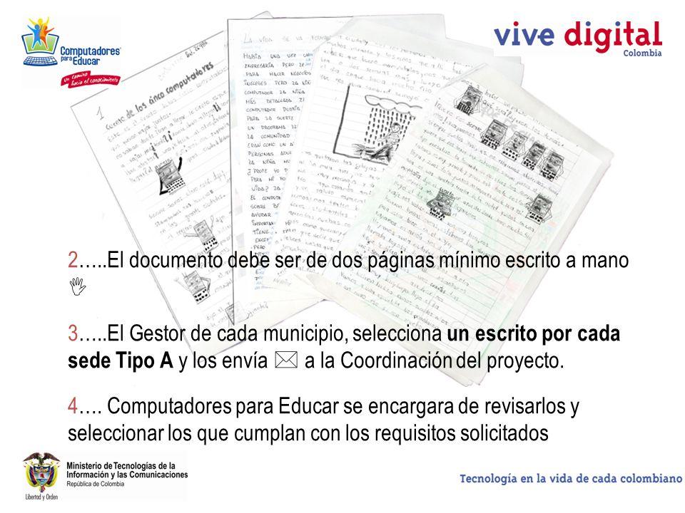 2…..El documento debe ser de dos páginas mínimo escrito a mano 