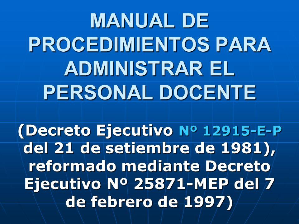 MANUAL DE PROCEDIMIENTOS PARA ADMINISTRAR EL PERSONAL DOCENTE