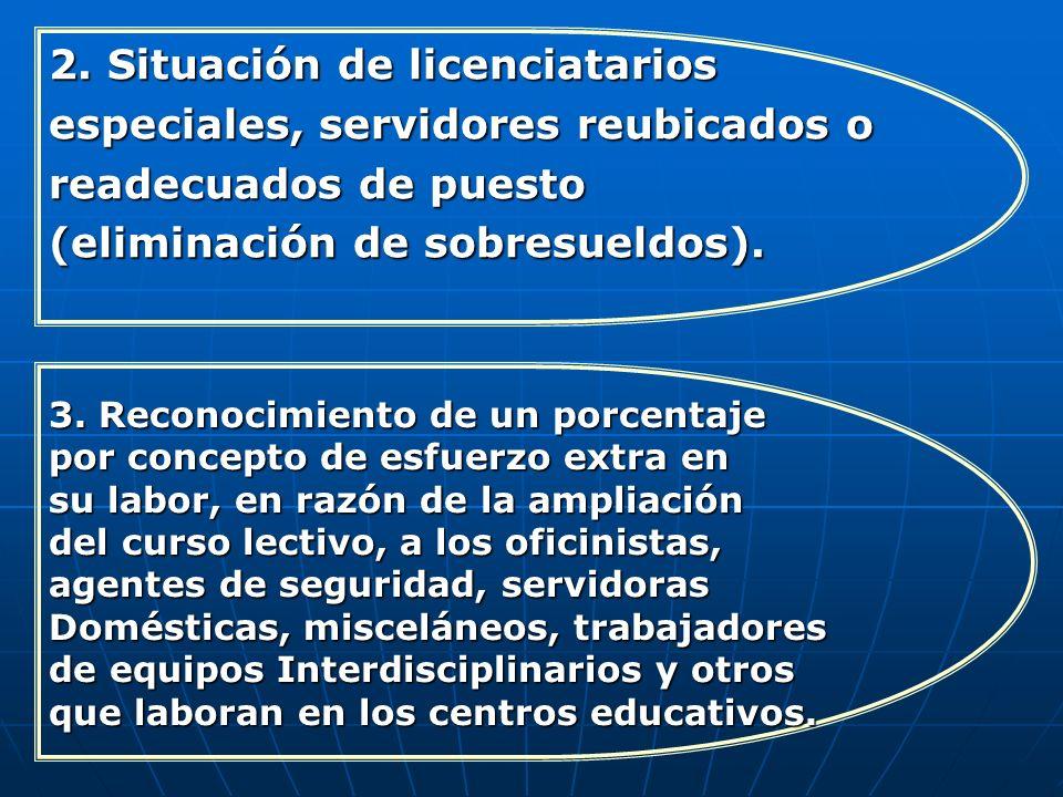 2. Situación de licenciatarios especiales, servidores reubicados o