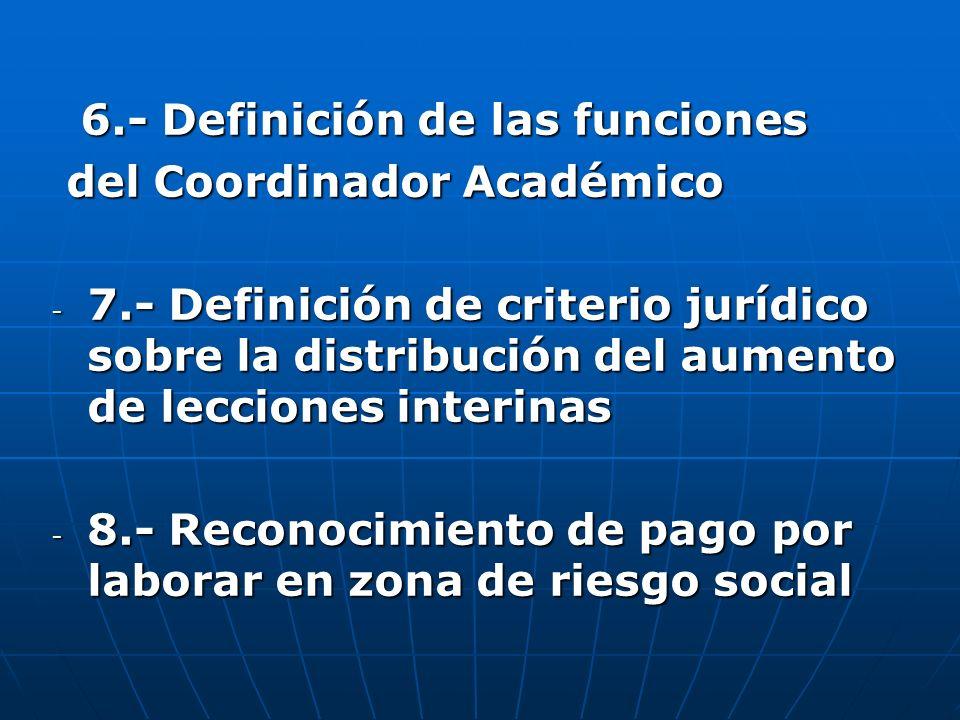 6.- Definición de las funciones