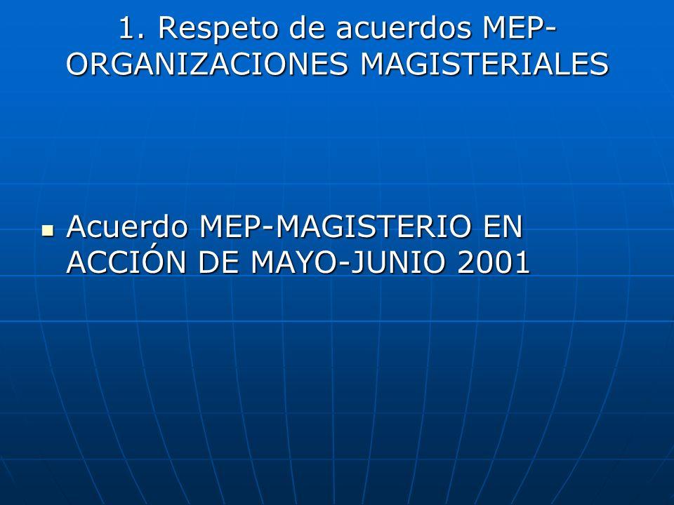 1. Respeto de acuerdos MEP-ORGANIZACIONES MAGISTERIALES