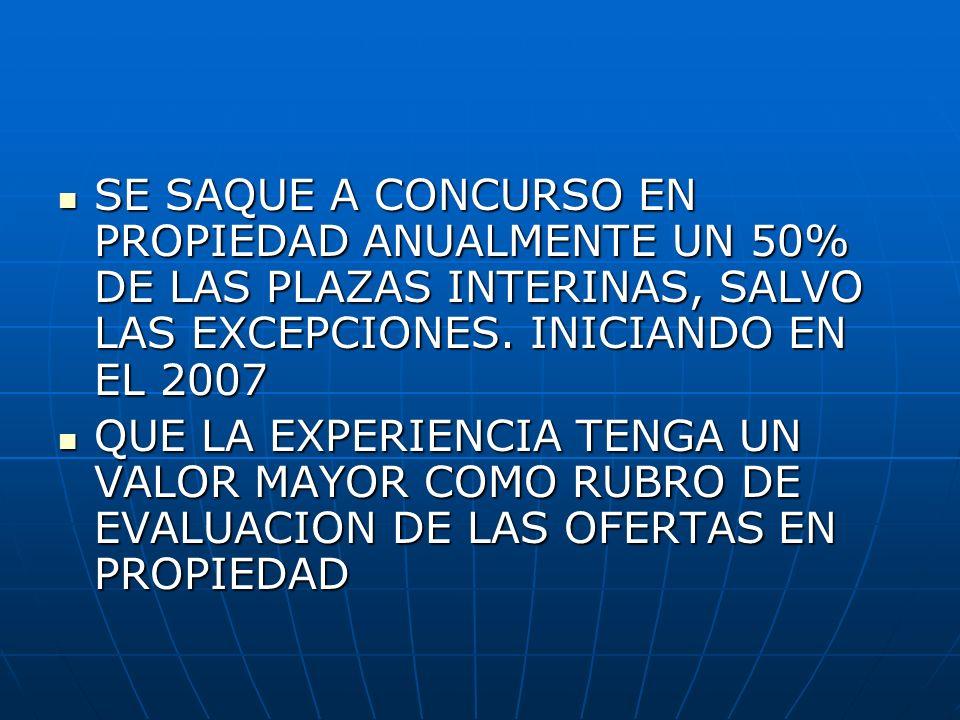 SE SAQUE A CONCURSO EN PROPIEDAD ANUALMENTE UN 50% DE LAS PLAZAS INTERINAS, SALVO LAS EXCEPCIONES. INICIANDO EN EL 2007