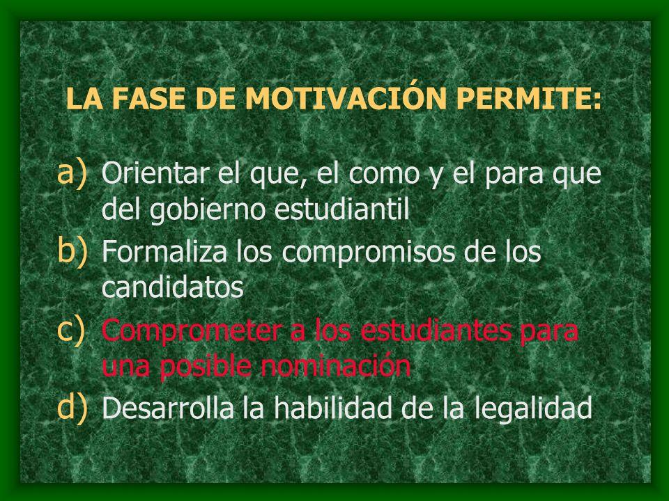 LA FASE DE MOTIVACIÓN PERMITE: