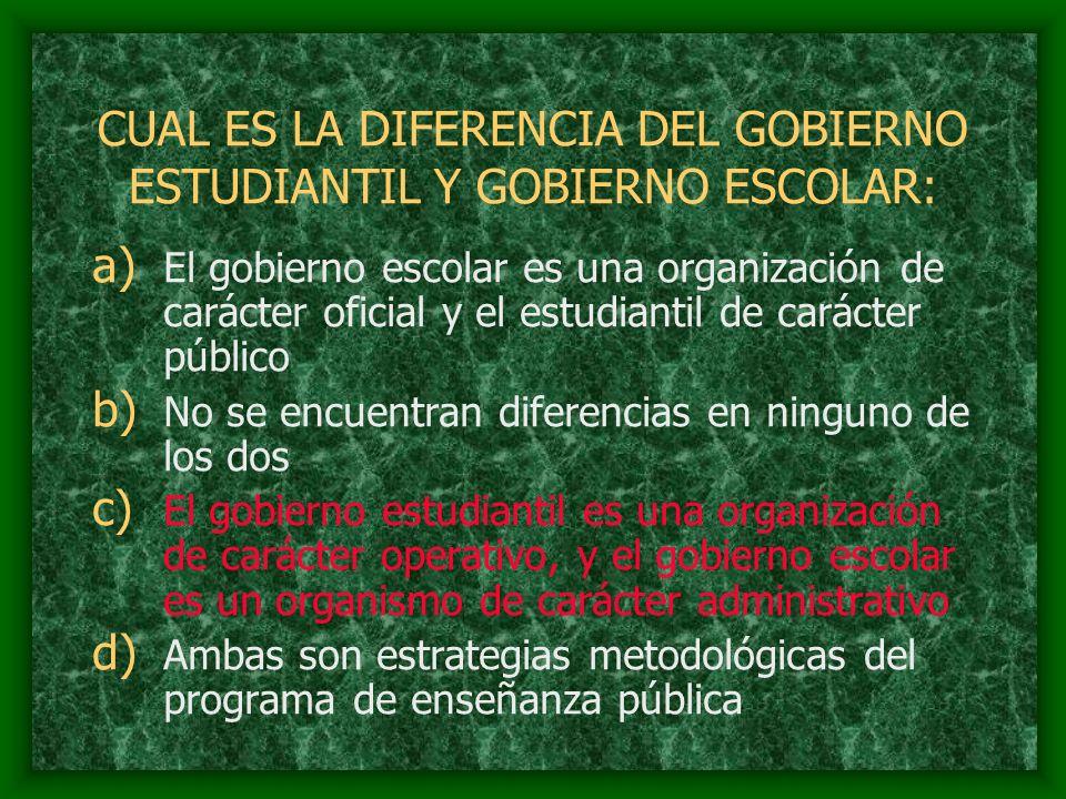 CUAL ES LA DIFERENCIA DEL GOBIERNO ESTUDIANTIL Y GOBIERNO ESCOLAR:
