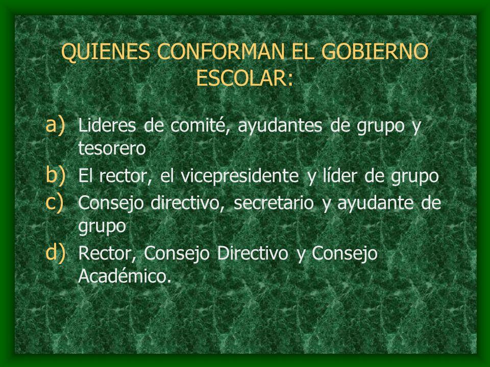 QUIENES CONFORMAN EL GOBIERNO ESCOLAR: