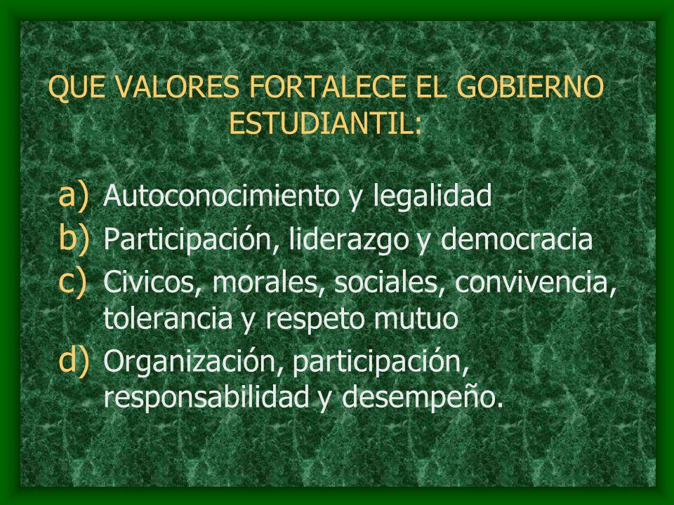 QUE VALORES FORTALECE EL GOBIERNO ESTUDIANTIL: