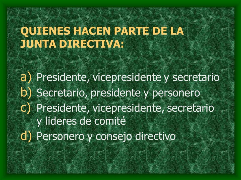 QUIENES HACEN PARTE DE LA JUNTA DIRECTIVA: