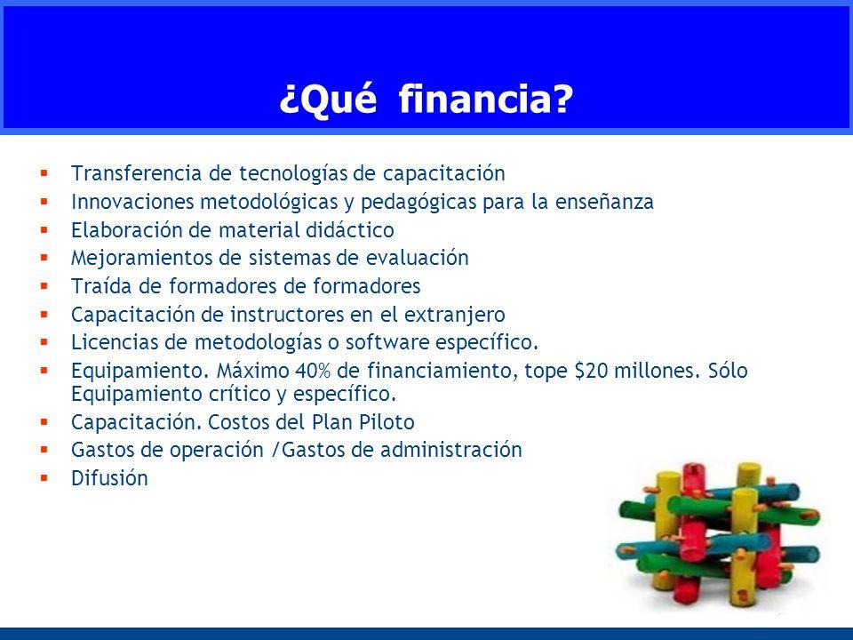 ¿Qué financia Transferencia de tecnologías de capacitación