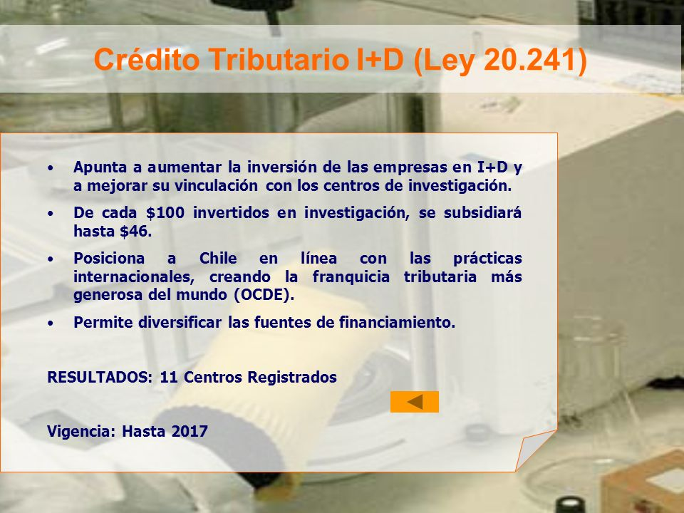 Crédito Tributario I+D (Ley 20.241)