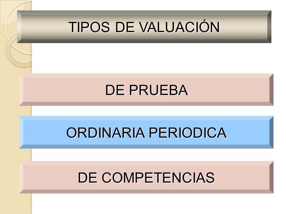 TIPOS DE VALUACIÓN DE PRUEBA ORDINARIA PERIODICA DE COMPETENCIAS