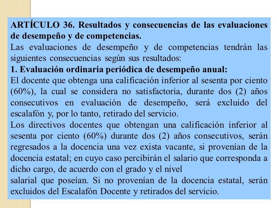 ARTÍCULO 36. Resultados y consecuencias de las evaluaciones de desempeño y de competencias.