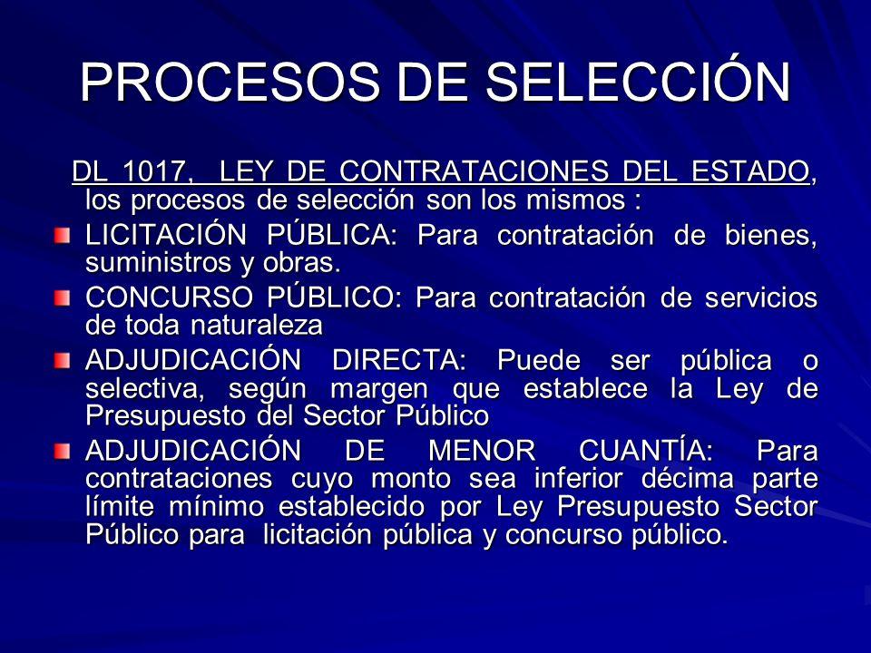 PROCESOS DE SELECCIÓNDL 1017, LEY DE CONTRATACIONES DEL ESTADO, los procesos de selección son los mismos :