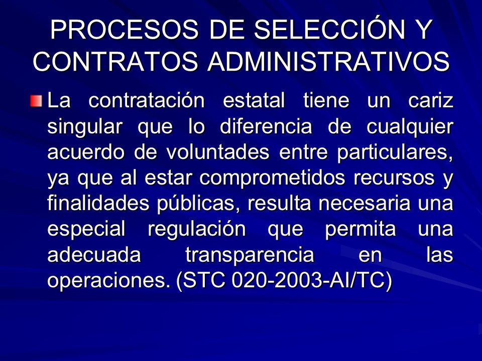 PROCESOS DE SELECCIÓN Y CONTRATOS ADMINISTRATIVOS