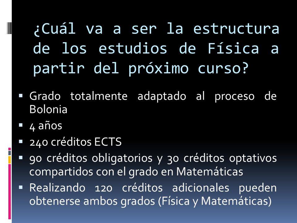 ¿Cuál va a ser la estructura de los estudios de Física a partir del próximo curso