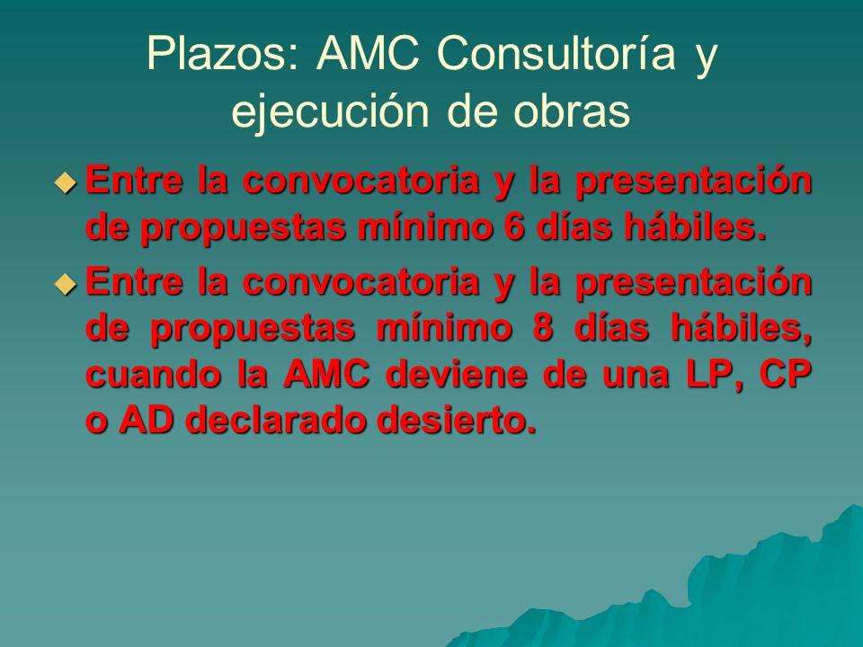Plazos: AMC Consultoría y ejecución de obras