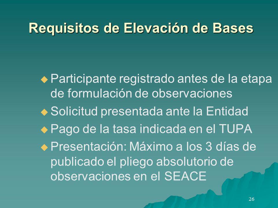 Requisitos de Elevación de Bases