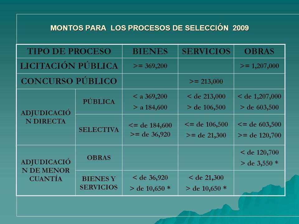 MONTOS PARA LOS PROCESOS DE SELECCIÓN 2009
