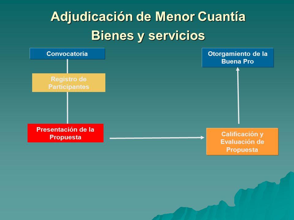 Adjudicación de Menor Cuantía Bienes y servicios