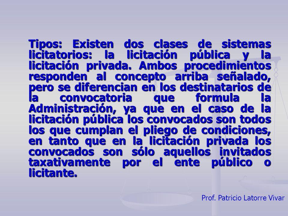 Tipos: Existen dos clases de sistemas licitatorios: la licitación pública y la licitación privada.