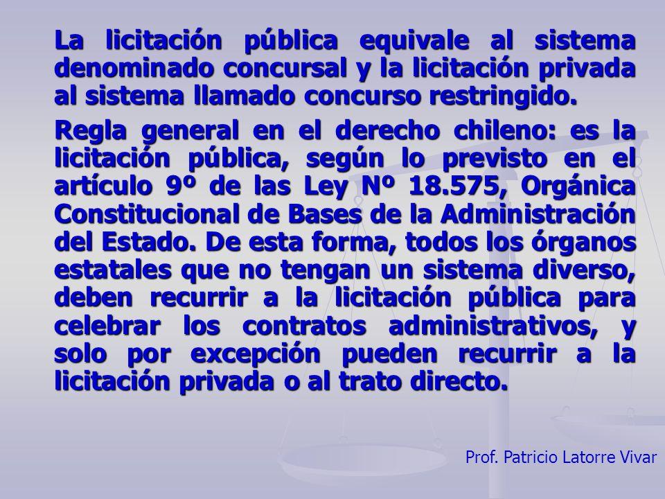 La licitación pública equivale al sistema denominado concursal y la licitación privada al sistema llamado concurso restringido.