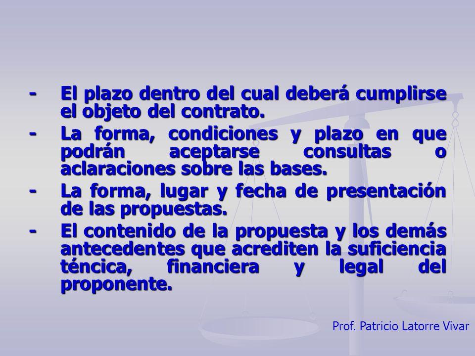 - El plazo dentro del cual deberá cumplirse el objeto del contrato.