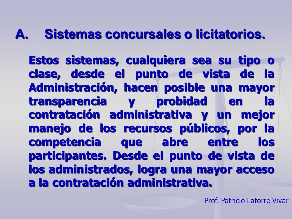 A. Sistemas concursales o licitatorios.