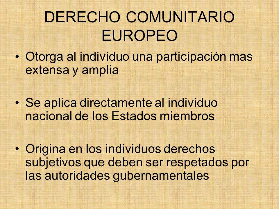 DERECHO COMUNITARIO EUROPEO