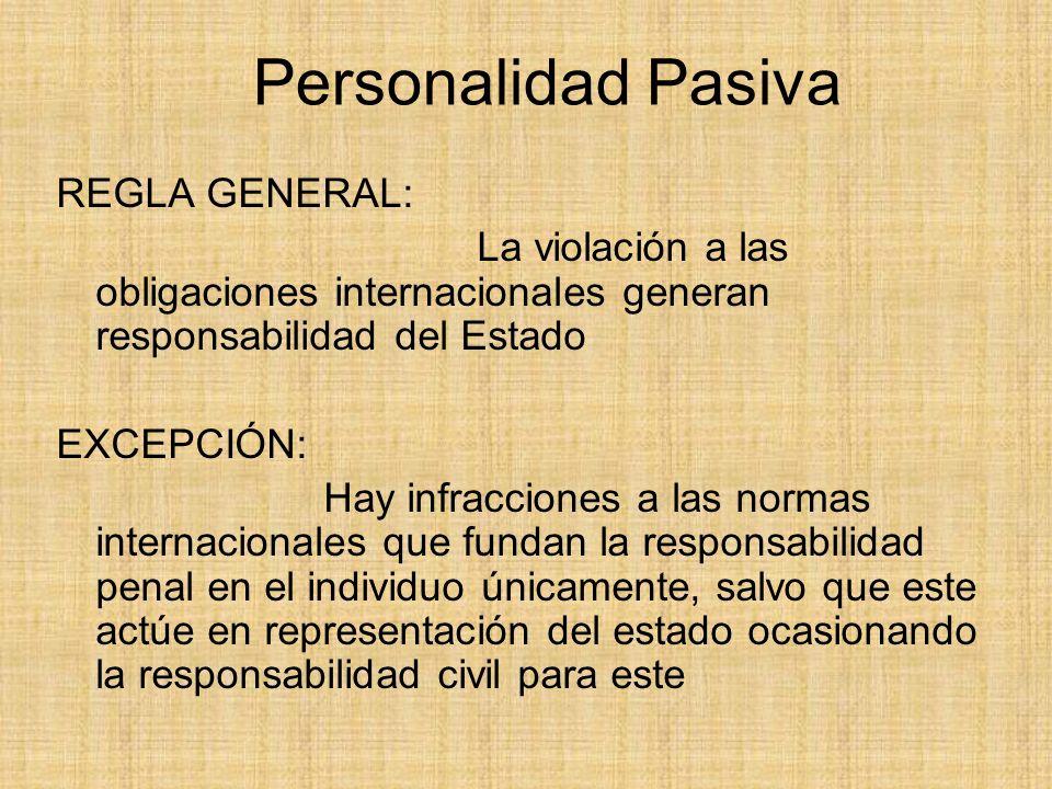 Personalidad Pasiva REGLA GENERAL: