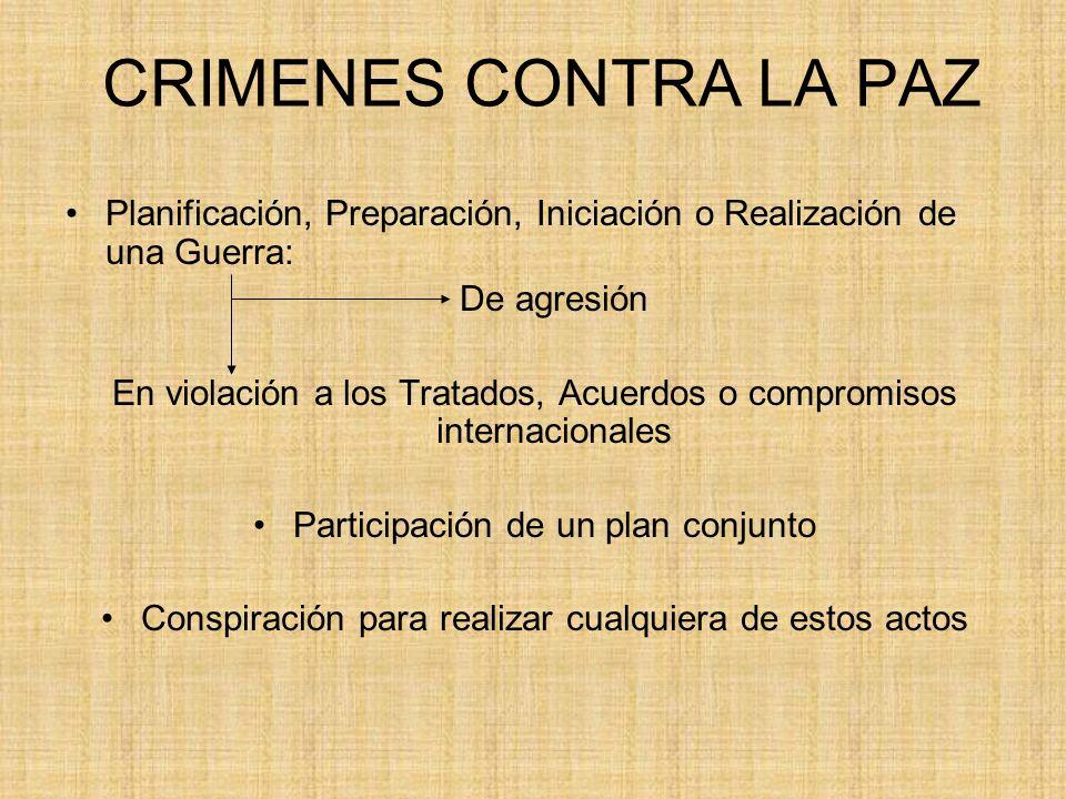 CRIMENES CONTRA LA PAZ Planificación, Preparación, Iniciación o Realización de una Guerra: De agresión.