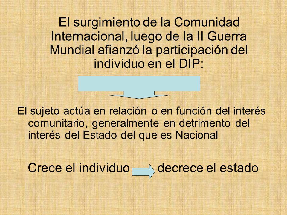 El surgimiento de la Comunidad Internacional, luego de la II Guerra Mundial afianzó la participación del individuo en el DIP: