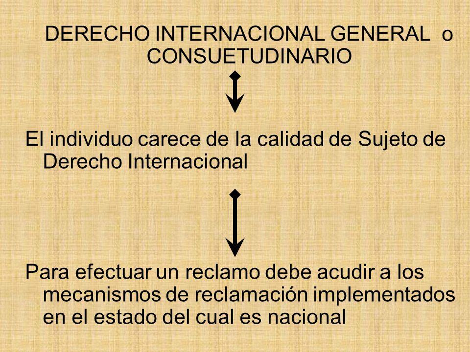 DERECHO INTERNACIONAL GENERAL o CONSUETUDINARIO