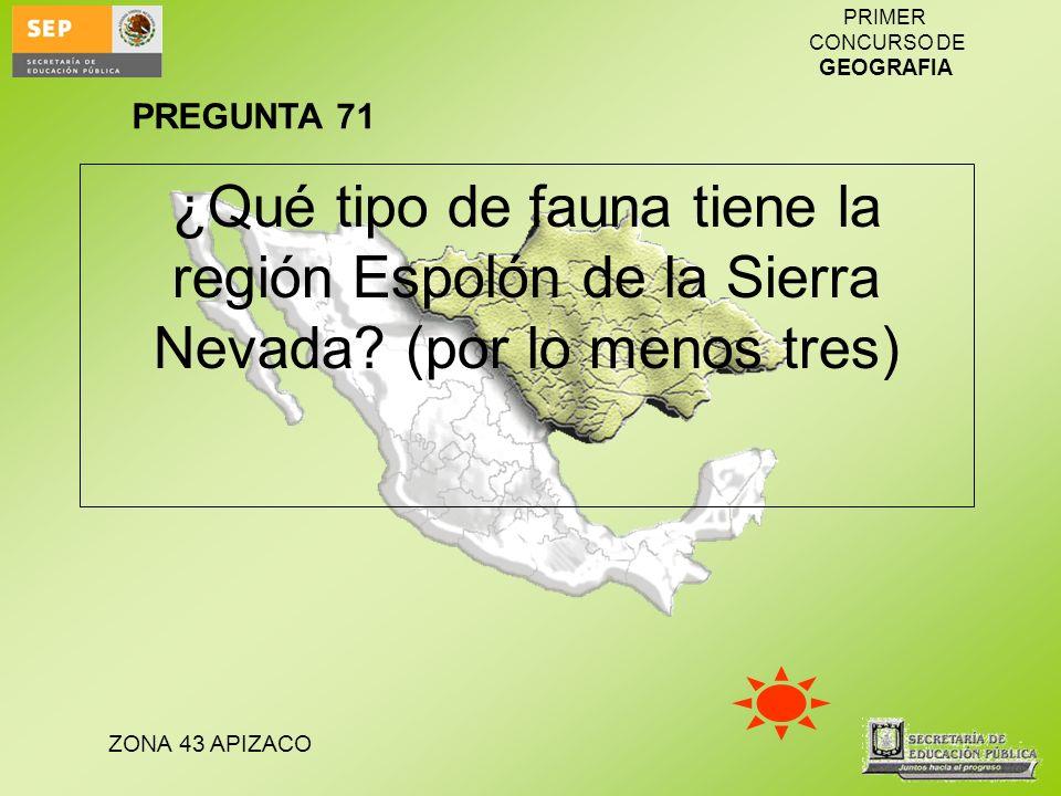 PREGUNTA 71 ¿Qué tipo de fauna tiene la región Espolón de la Sierra Nevada (por lo menos tres)