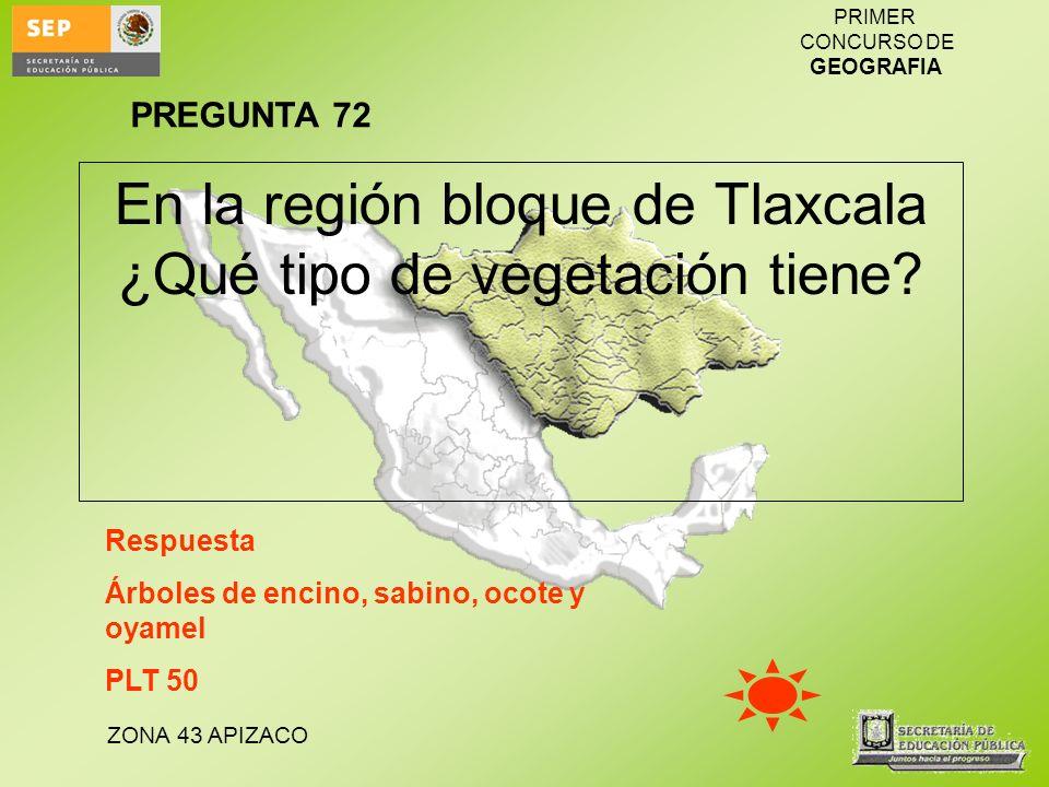En la región bloque de Tlaxcala ¿Qué tipo de vegetación tiene