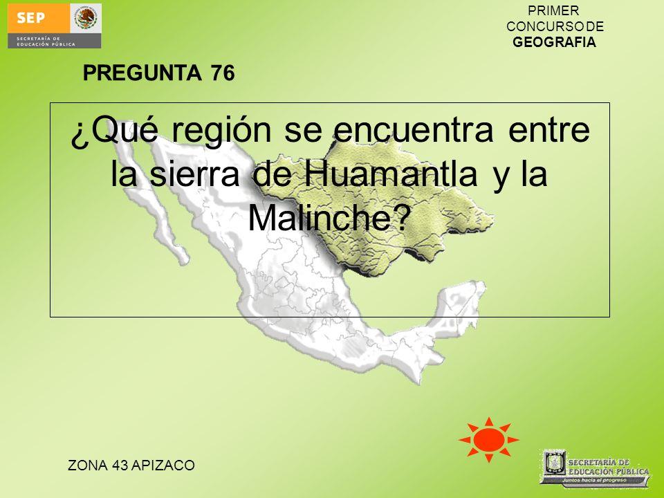 ¿Qué región se encuentra entre la sierra de Huamantla y la Malinche