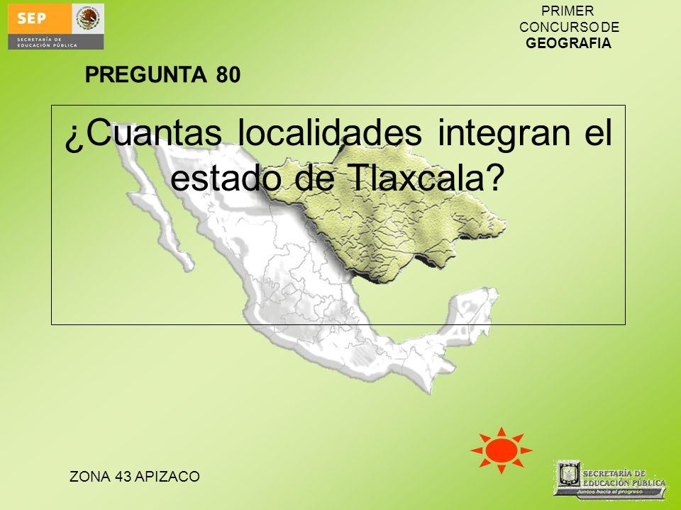¿Cuantas localidades integran el estado de Tlaxcala