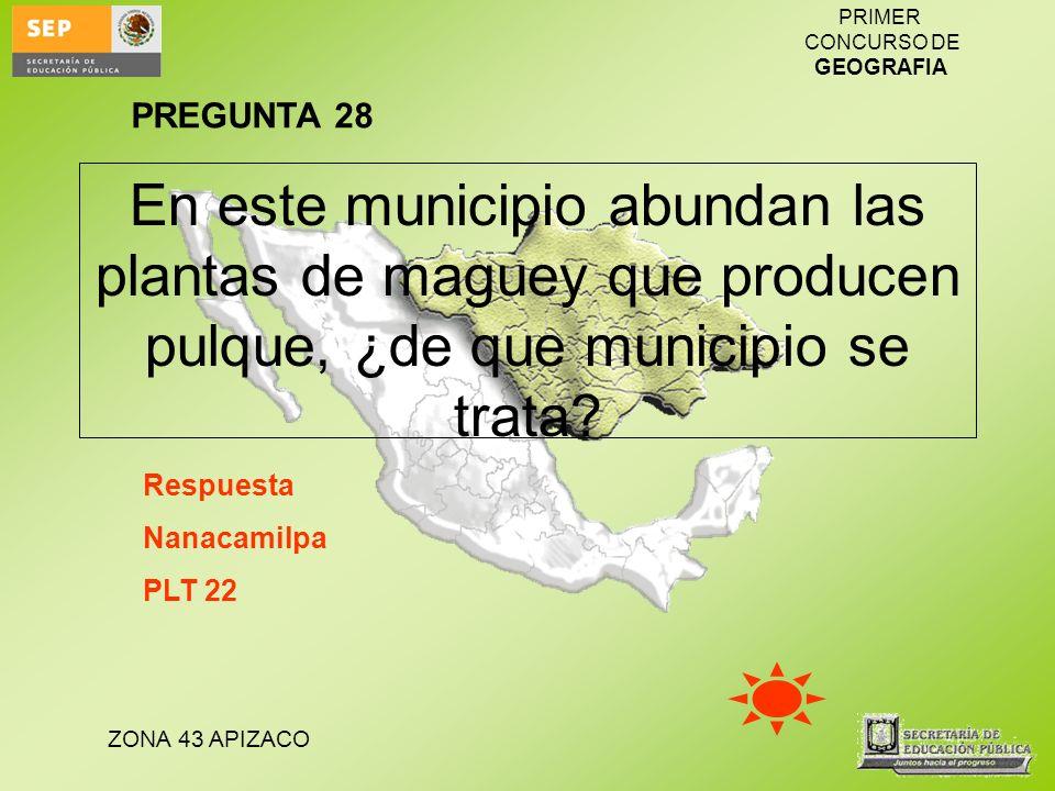 PREGUNTA 28 En este municipio abundan las plantas de maguey que producen pulque, ¿de que municipio se trata