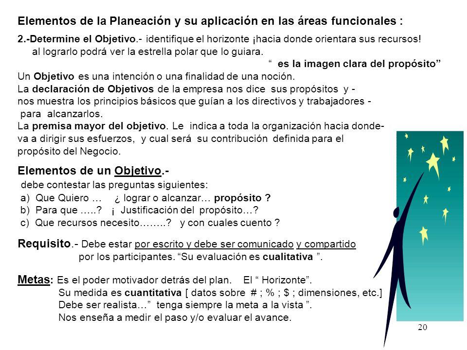Elementos de la Planeación y su aplicación en las áreas funcionales :