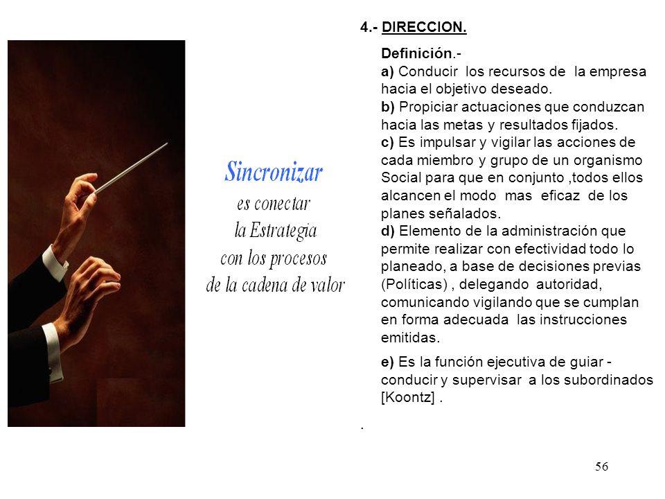 4.- DIRECCION. Definición.- a) Conducir los recursos de la empresa. hacia el objetivo deseado. b) Propiciar actuaciones que conduzcan.